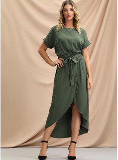 A-Line Scoop Neck Ankle-Length Evening Dress With Bow(s) Split Front