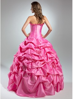 Ball-Gown Strapless Floor-Length Taffeta Quinceanera Dress With Ruffle Flower(s)