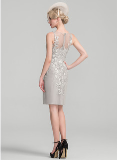 Sheath/Column Scoop Neck Knee-Length Chiffon Lace Mother of the Bride Dress With Beading Sequins