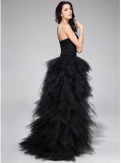 A-Line One-Shoulder Asymmetrical Tulle Prom Dresses With Beading Appliques Lace Sequins Cascading Ruffles