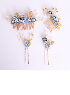 Ladies Charming Alloy/Resin Hairpins/Combs & Barrettes With Venetian Pearl (Set of 4)