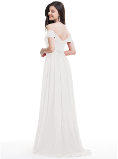 A-Line Off-the-Shoulder Sweep Train Chiffon Wedding Dress With Ruffle Split Front