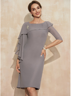 Sheath/Column Scoop Neck Knee-Length Chiffon Mother of the Bride Dress With Crystal Brooch Cascading Ruffles