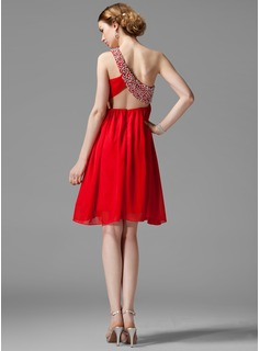 Empire One-Shoulder Knee-Length Chiffon Homecoming Dress With Ruffle Beading Sequins