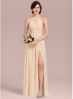 A-Line Scoop Neck Floor-Length Chiffon Evening Dress With Ruffle Bow(s) Split Front