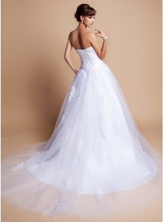 Ball-Gown Sweetheart Chapel Train Charmeuse Tulle Wedding Dress With Lace