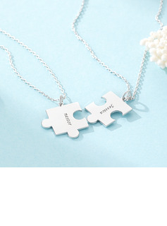 Custom Silver Puzzle Two Engraved Necklace (Set of 2) - Birthday Gifts Mother's Day Gifts