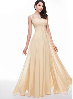 A-Line Scoop Neck Floor-Length Chiffon Prom Dresses With Ruffle Beading Flower(s)