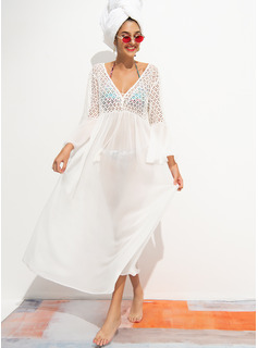 Fashionable Solid Color Polyester Chiffon Cover-ups