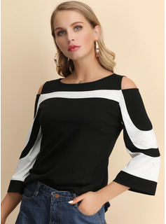 3/4 Sleeves Polyester Boat Neck Blouses