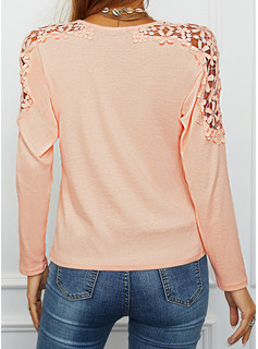 Regular Cotton Blends Round Neck Floral Lace Solid Fitted Blouses