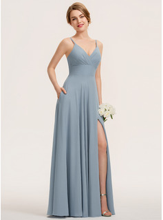 A-Line V-neck Floor-Length Chiffon Evening Dress With Ruffle Pockets