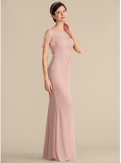Sheath/Column Scoop Neck Floor-Length Chiffon Bridesmaid Dress With Beading Appliques Lace Sequins