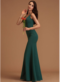 Sheath/Column V-neck Floor-Length Stretch Crepe Prom Dresses