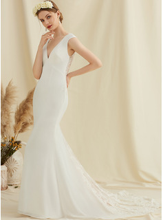 long white trumpet dress