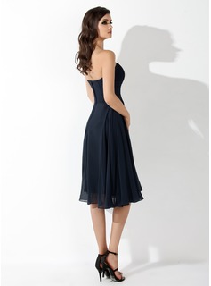 Empire Sweetheart Knee-Length Chiffon Bridesmaid Dress With Ruffle Beading