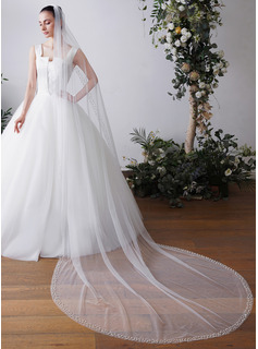 One-tier Pearl Trim Edge Chapel Bridal Veils With Faux Pearl