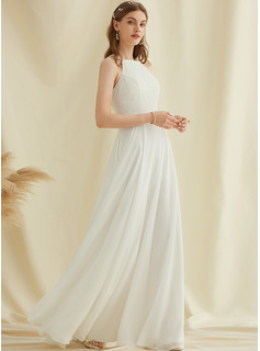 Scoop Neck Floor-Length Chiffon Lace Wedding Dress With Pockets