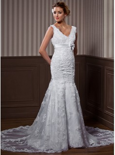 Trumpet/Mermaid V-neck Chapel Train Organza Wedding Dress With Beading Appliques Lace Bow(s)