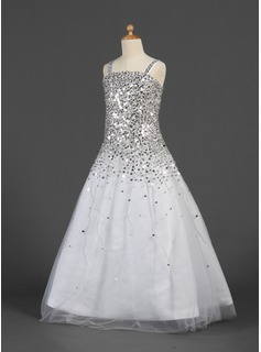 Ball Gown Floor-length Flower Girl Dress - Satin/Tulle Sleeveless Straps With Sequins