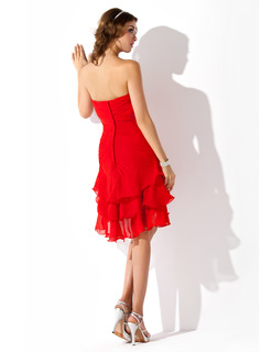 A-Line Sweetheart Asymmetrical Chiffon Homecoming Dress With Ruffle Beading Sequins