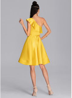 One-Shoulder Knee-Length Satin Cocktail Dress With Cascading Ruffles