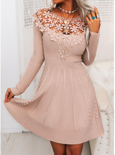 Lace Solid Round Neck Long Sleeves Casual Long Sweater Dress Dresses