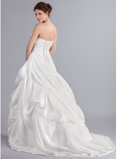 A-Line Sweetheart Asymmetrical Taffeta Wedding Dress With Ruffle