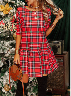 Plaid Shift Round Neck Long Sleeves Midi Casual Dresses