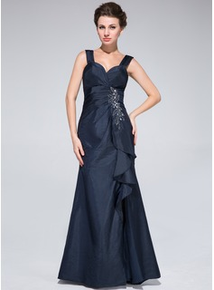 Trumpet/Mermaid Sweetheart Floor-Length Taffeta Mother of the Bride Dress With Beading Split Front Cascading Ruffles