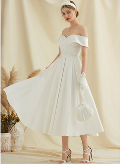 Tea-Length Satin Wedding Dress With Pockets