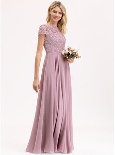 A-Line Scoop Neck Floor-Length Chiffon Lace Evening Dress With Pockets