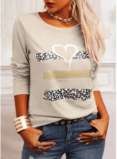 Regular Cotton Blends Round Neck Figure Print Heart Fitted Blouses