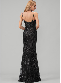 A-Line V-neck Floor-Length Satin Evening Dress With Sequins