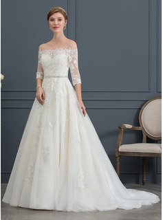 Ball-Gown/Princess Off-the-Shoulder Court Train Tulle Wedding Dress With Beading