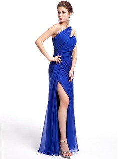 Sheath/Column One-Shoulder Floor-Length Chiffon Evening Dress With Ruffle Split Front
