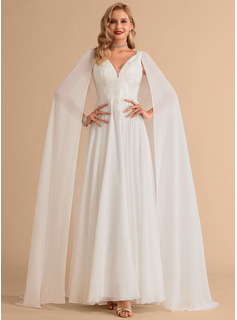 V-neck Floor-Length Chiffon Wedding Dress With Lace Sequins