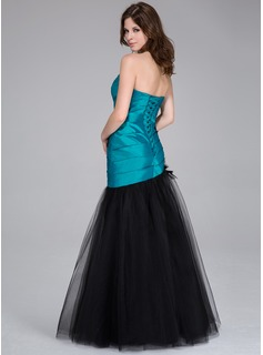 Trumpet/Mermaid Sweetheart Floor-Length Taffeta Tulle Prom Dress With Ruffle Beading Feather Appliques Lace Flower(s)