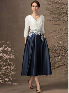 A-Line V-neck Tea-Length Satin Mother of the Bride Dress With Ruffle Appliques Lace Pockets