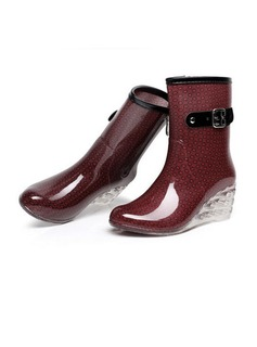 Women's PVC Wedge Heel Wedges Boots Mid-Calf Boots Rain Boots With Buckle Zipper Jewelry Heel shoes
