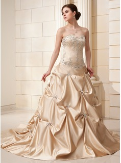 Ball-Gown Sweetheart Chapel Train Satin Wedding Dress With Embroidered Ruffle Beading