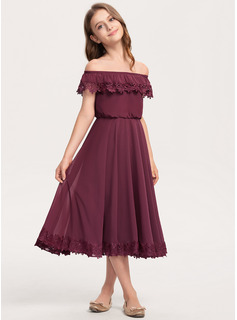 Off-the-Shoulder Tea-Length Chiffon Lace Junior Bridesmaid Dress
