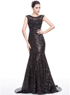 Trumpet/Mermaid Scoop Neck Court Train Sequined Evening Dress With Beading Appliques Lace
