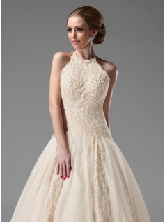 Ball-Gown Halter Chapel Train Tulle Lace Wedding Dress With Beading