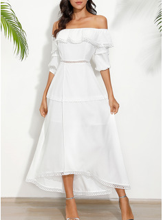 Solid A-line Off the Shoulder 1/2 Sleeves Midi Casual Vacation Dresses