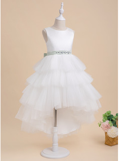 Ball-Gown/Princess Asymmetrical Flower Girl Dress - Tulle Sleeveless Scoop Neck With Sash/Beading (Detachable sash)
