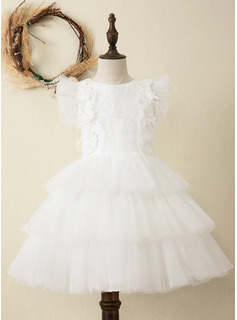 A-Line Knee-length Flower Girl Dress - Satin/Tulle/Lace Sleeveless Scoop Neck With Ruffles/Lace/Feather