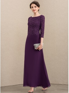 Scoop Neck Ankle-Length Chiffon Lace Mother of the Bride Dress With Sequins