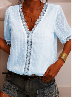 Regular Polyester V-Neck Lace Solid 3XL L S M XL XXL Blouses
