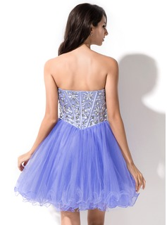 A-Line/Princess Sweetheart Short/Mini Tulle Prom Dresses With Beading